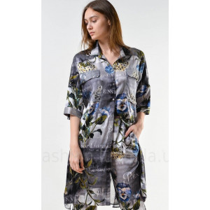 Blouse «Alice» gray with an author's print